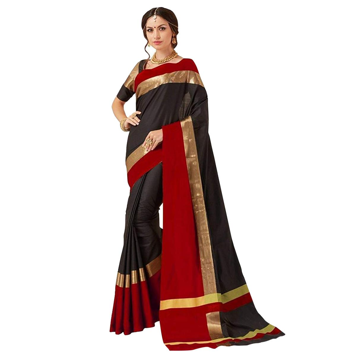 Pleasant Black Colored Festive Wear Art Silk Saree