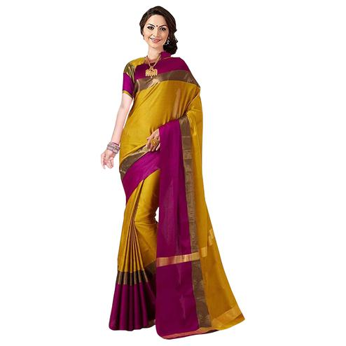 Opulent Mustard Yellow Colored Festive Wear Art Silk Saree