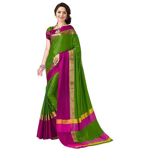 Energetic Green Colored Festive Wear Art Silk Saree
