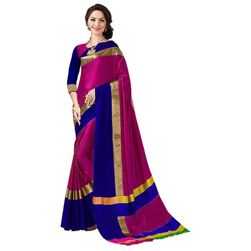 Glowing Pink Colored Festive Wear Art Silk Saree