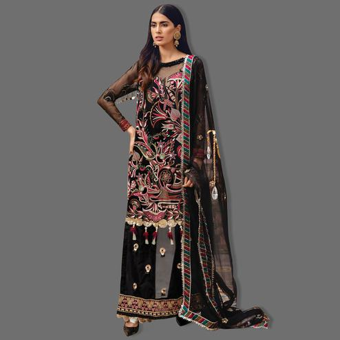 Mesmeric Black Colored Partywear Embroidered Net Palazzo Suit