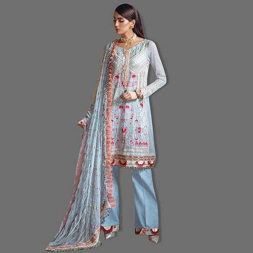 Unique Light Blue Colored Partywear Embroidered Georgette Palazzo Suit