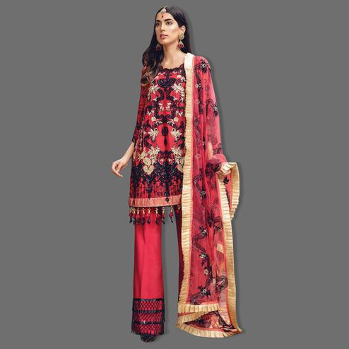 Demanding Red Colored Partywear Embroidered Georgette Palazzo Suit
