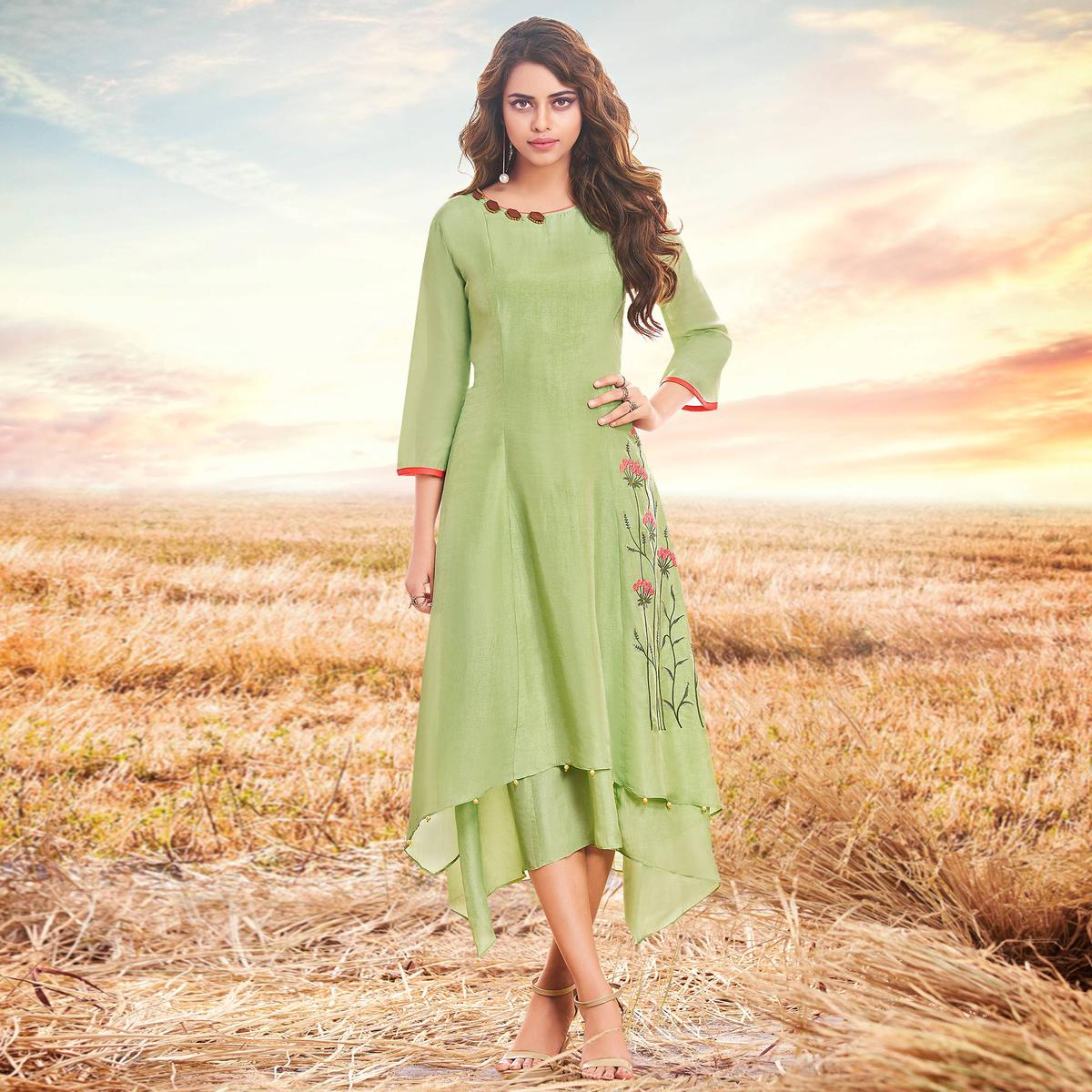 Fantastic Green Colored Partywear Embroidered Cotton Silk Fancy Kurti