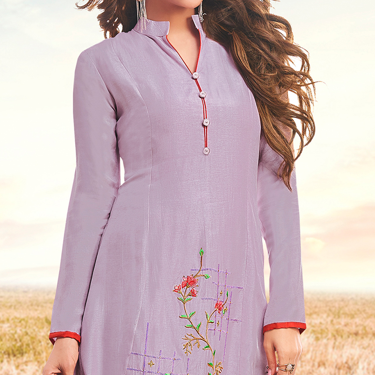 Amazing Lavender Colored Partywear Embroidered Cotton Silk Fancy Kurti