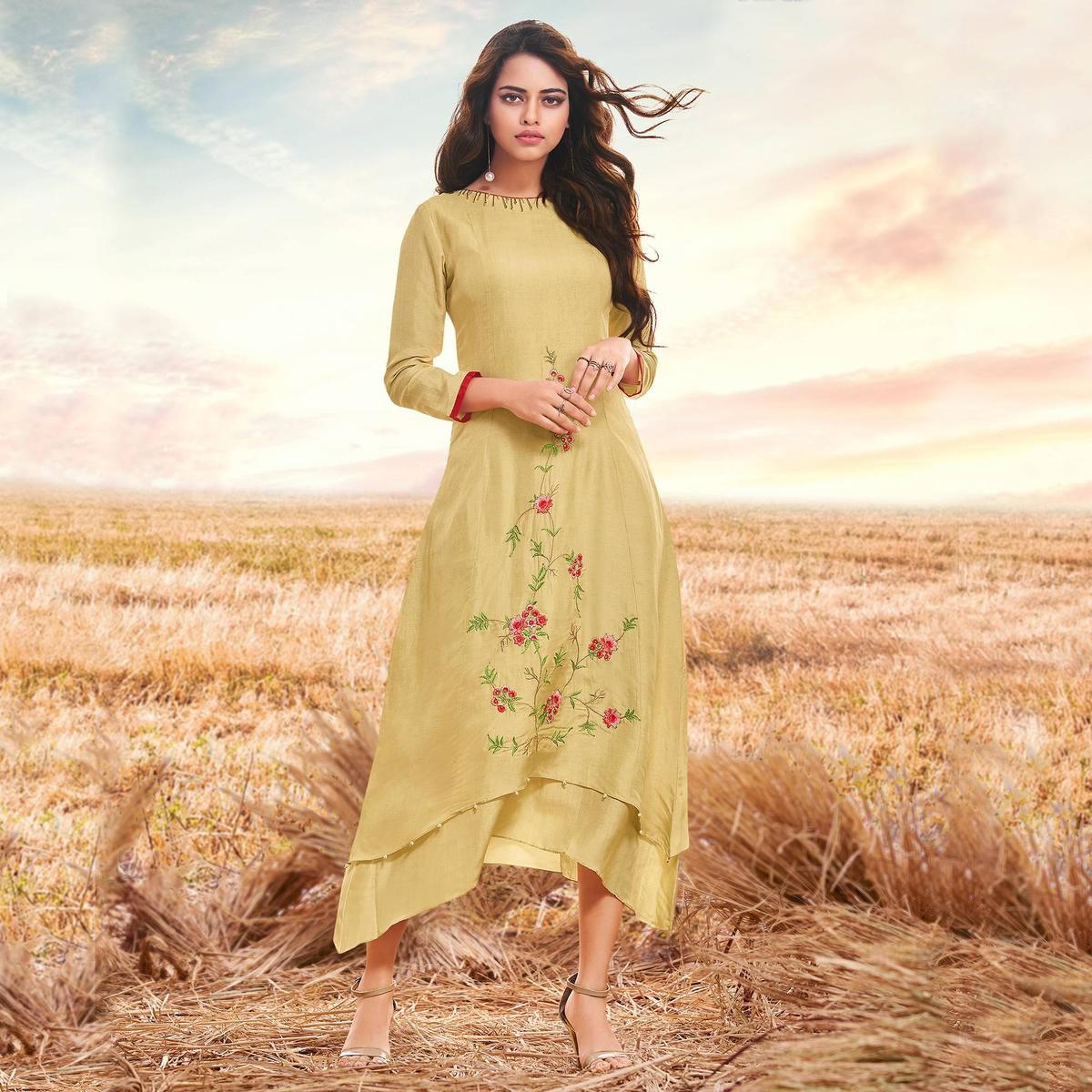 Gorgeous Beige Colored Partywear Embroidered Cotton Silk Fancy Kurti