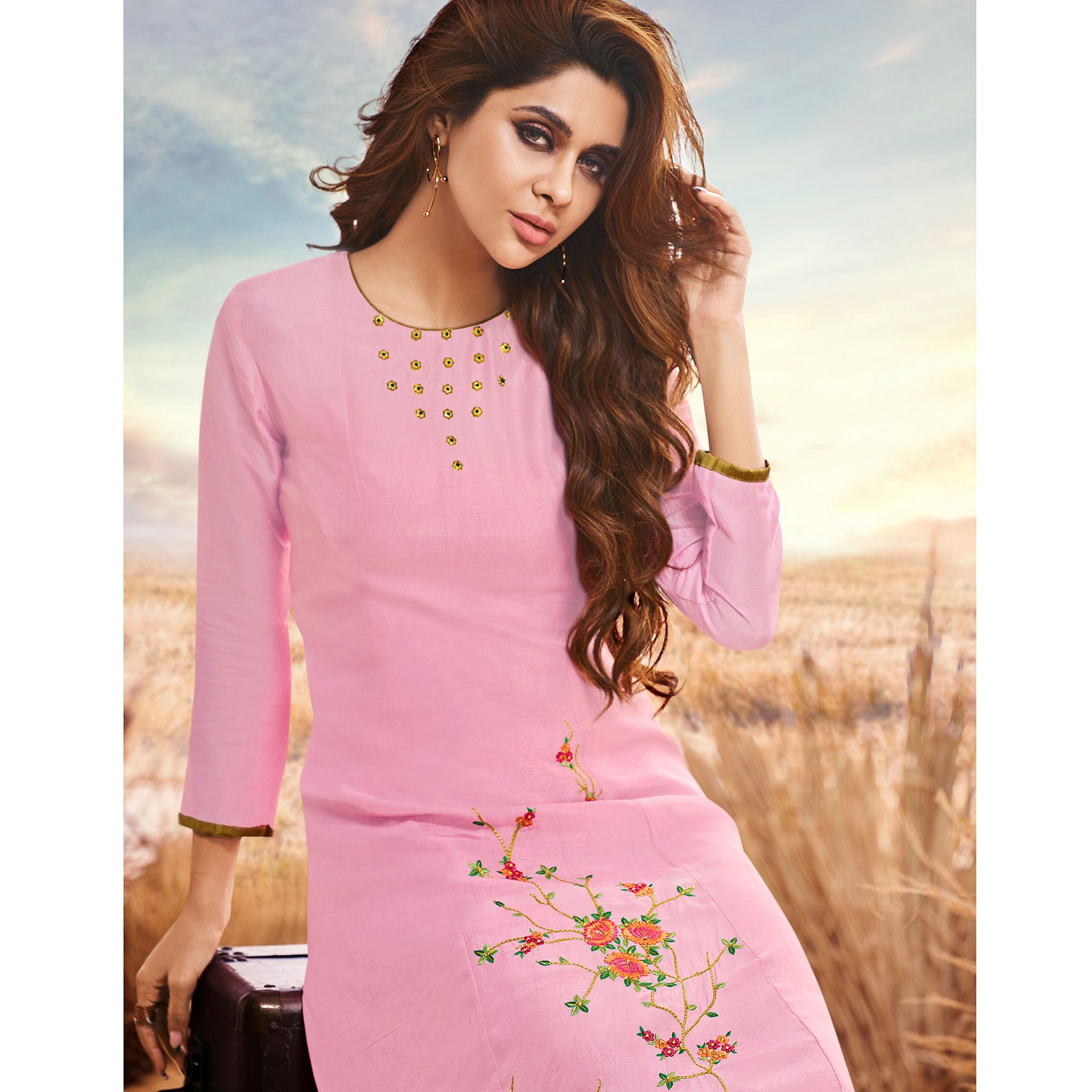 Blissful Pink Colored Partywear Embroidered Cotton Silk Fancy Kurti