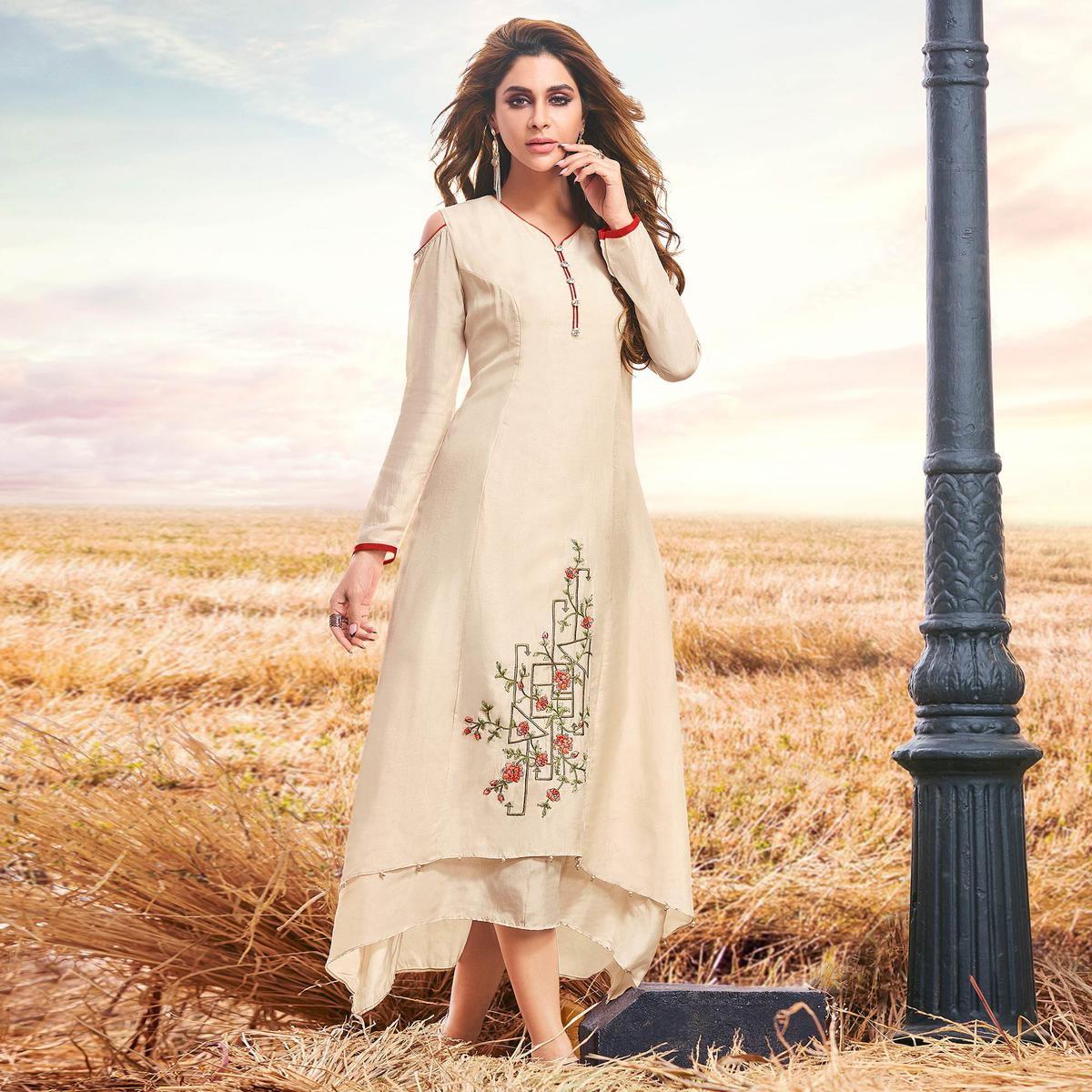 Imposing Off White Colored Partywear Embroidered Cotton Silk Fancy Kurti