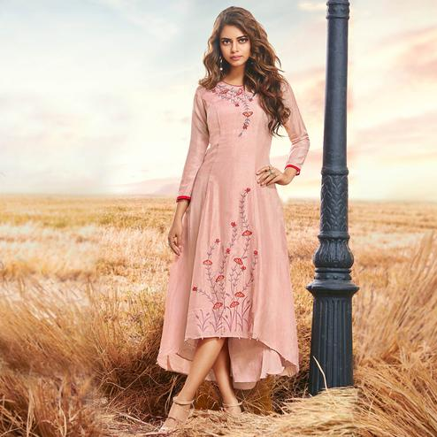 Lovely Peach Colored Partywear Embroidered Cotton Silk Fancy Kurti
