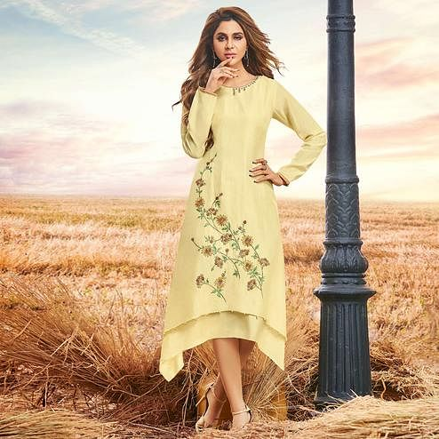 Majesty Yellow Colored Partywear Embroidered Cotton Silk Fancy Kurti