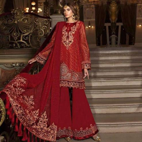 Entrancing Red Colored Partywear Embroidered Organza Palazzo Suit