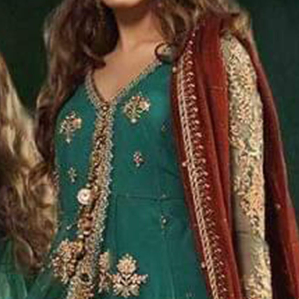 Prominent Turquoise Green Colored Partywear Embroidered Soft Net Palazzo Suit