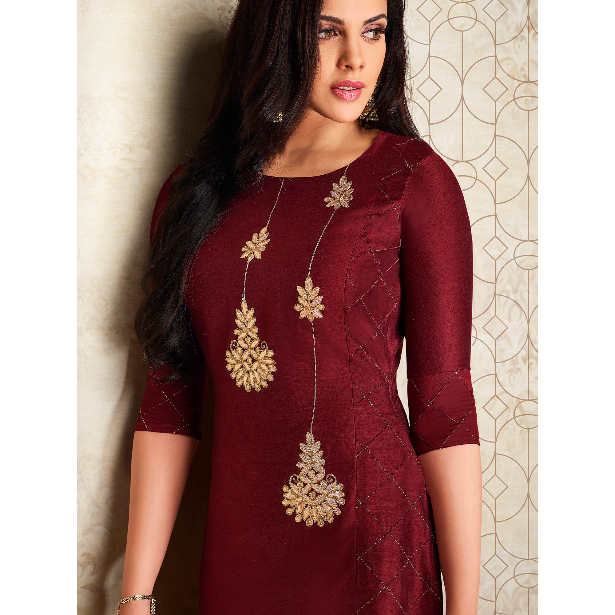Intricate Maroon Colored Partywear Embroidered Pure Viscose Silk Palazzo Suit