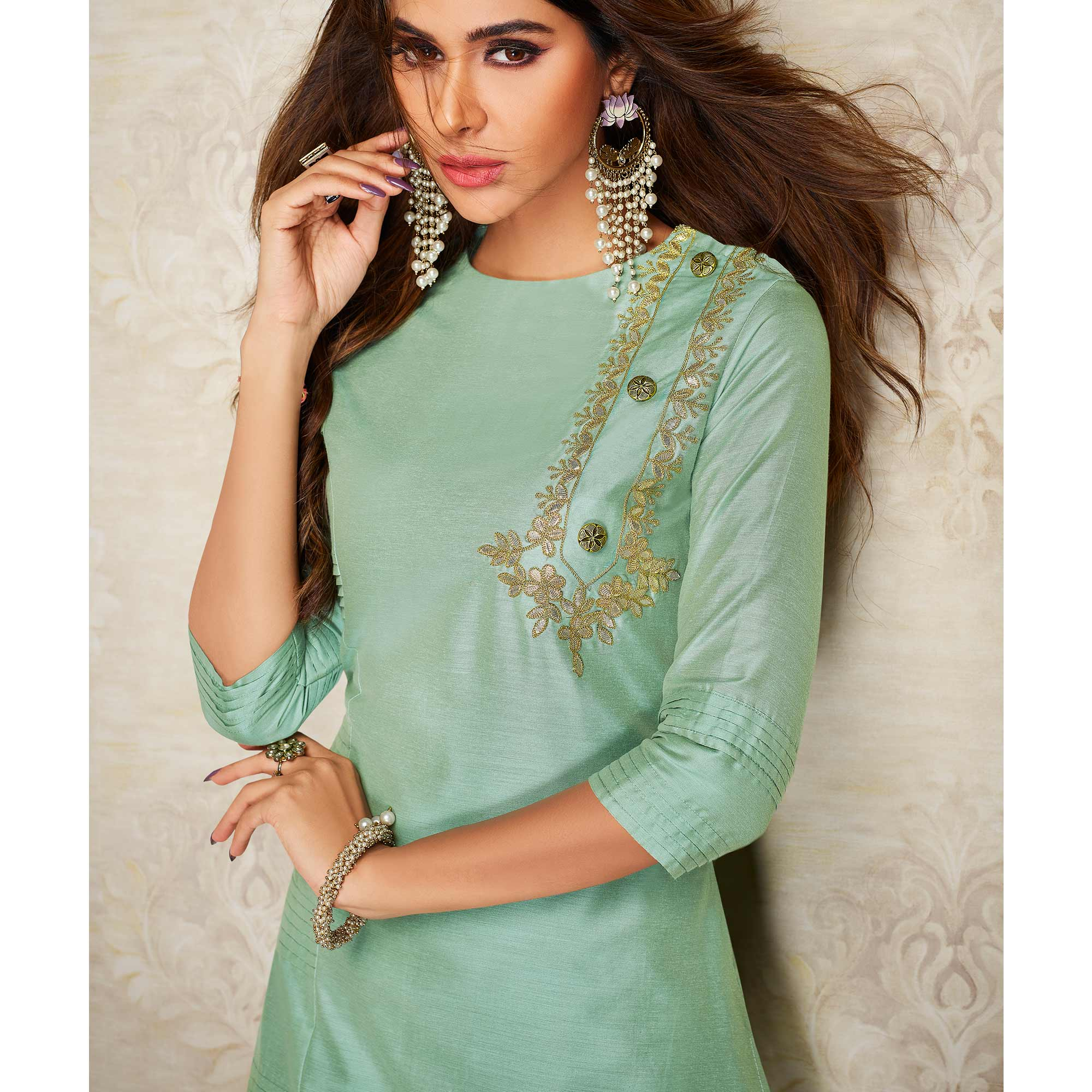 Arresting Aqua Green Colored Partywear Embroidered Pure Viscose Silk Palazzo Suit