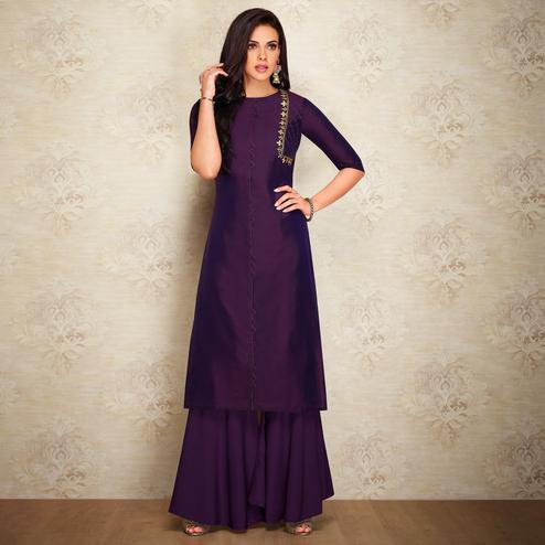 Desirable Purple Colored Partywear Embroidered Pure Viscose Silk Palazzo Suit