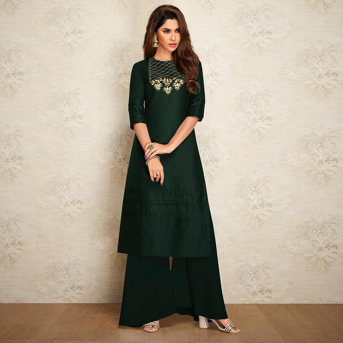 Exotic Bottle Green Colored Partywear Embroidered Pure Viscose Silk Palazzo Suit