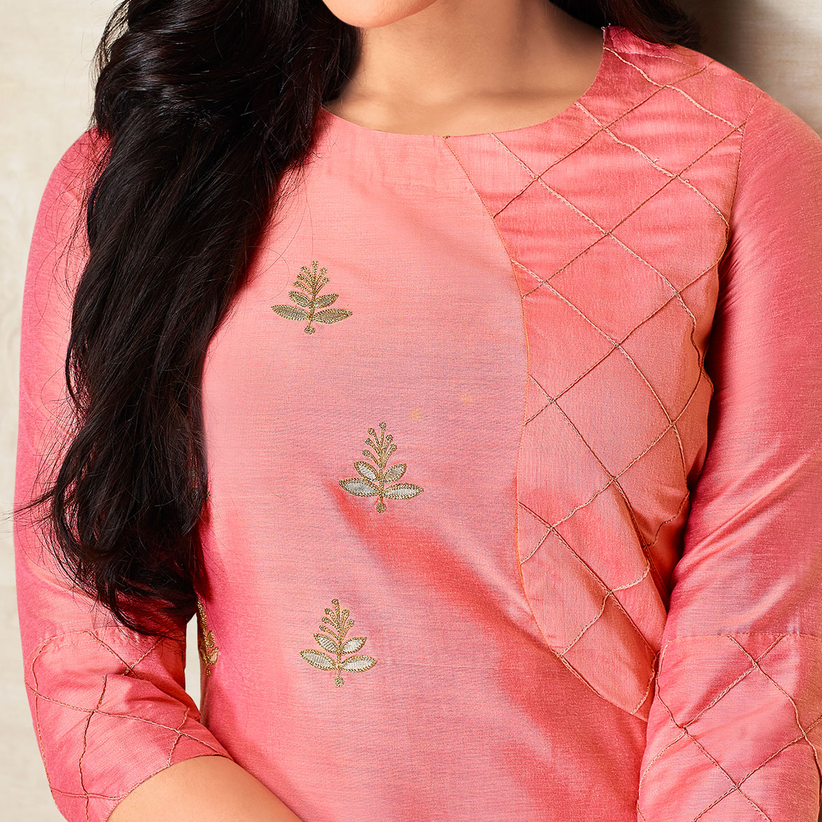 Sophisticated Pink Colored Partywear Embroidered Pure Viscose Silk Palazzo Suit