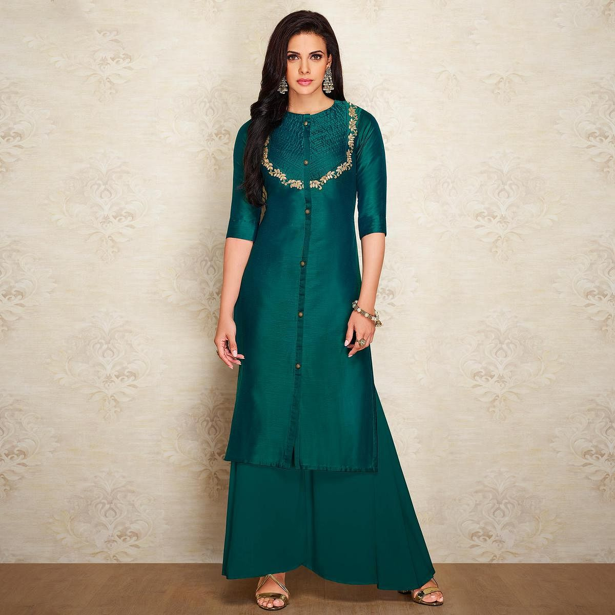 Trendy Teal Green Colored Partywear Embroidered Pure Viscose Silk Palazzo Suit
