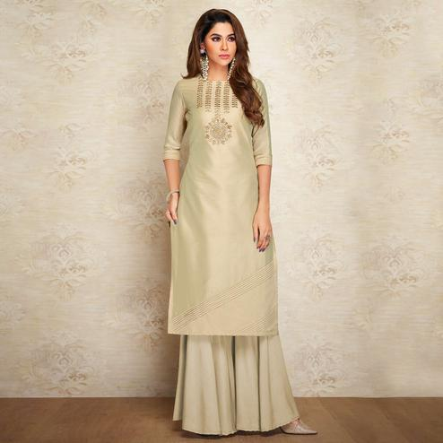 Elegant Beige Colored Partywear Embroidered Pure Viscose Silk Palazzo Suit