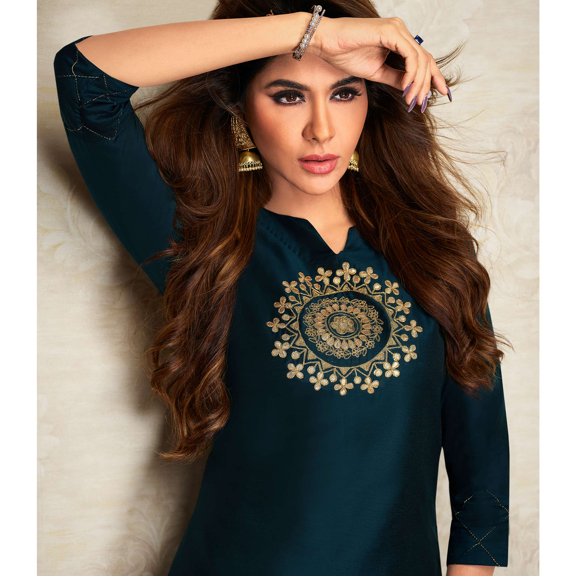Radiant Navy Blue Colored Partywear Embroidered Pure Viscose Silk Kurti-Palazzo Set