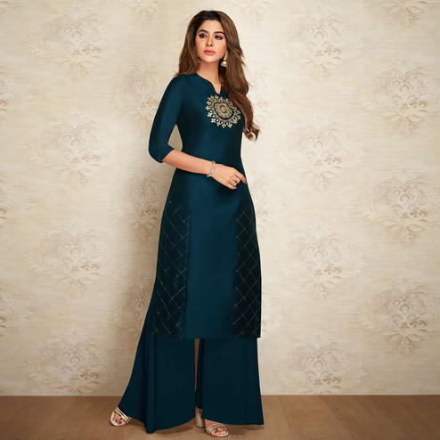 Radiant Navy Blue Colored Partywear Embroidered Pure Viscose Silk Palazzo Suit