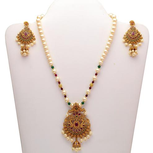 Beautiful Gold-Look Designer Multi Color Stone Pendant Set in Pearl Strand