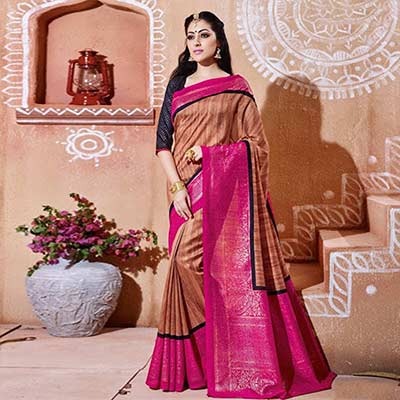 Coffee - Pink Bhagalpuri Silk Saree