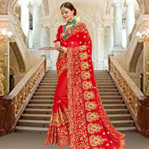 Refreshing Red Colored Partywear Embroidered Georgette Saree