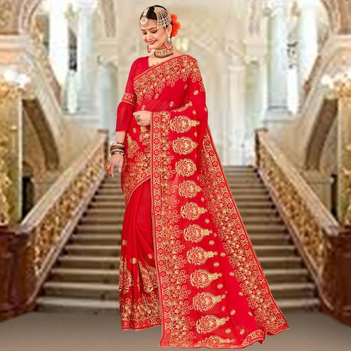 Preferable Red Colored Partywear Embroidered Georgette Saree