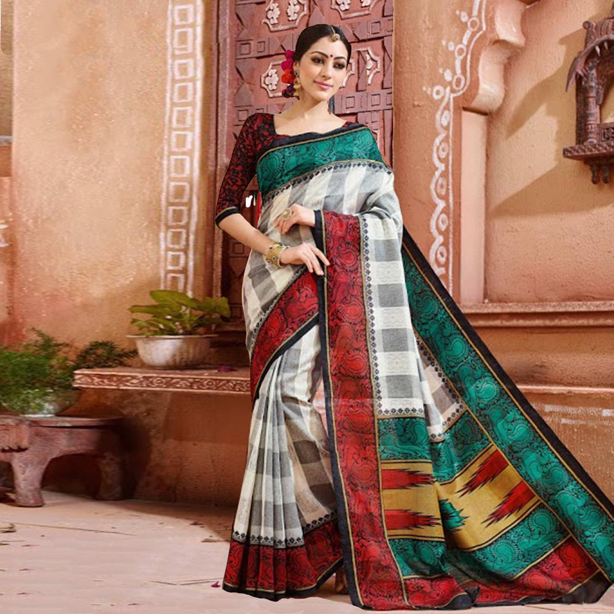 Off White - Gray - Green Bhagalpuri Silk Saree