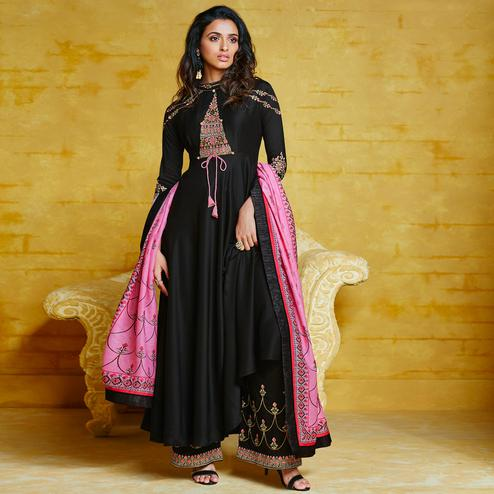 Breathtaking Black Colored Partywear Embroidered Muslin Palazzo Suit