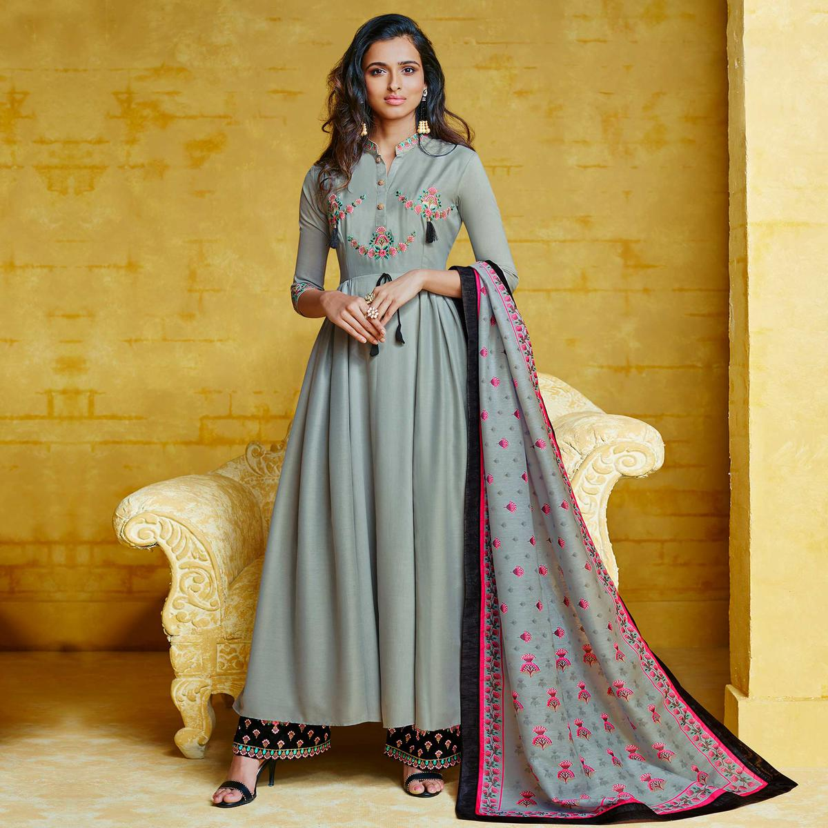 Pleasance Teal Grey Colored Partywear Embroidered Muslin Palazzo Suit