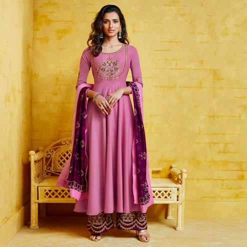 Mesmerising Pink Colored Partywear Embroidered Muslin Palazzo Suit