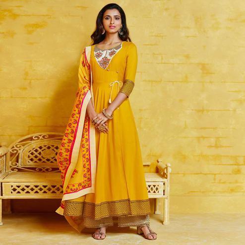 Impressive Yellow Colored Partywear Embroidered Muslin Palazzo Suit