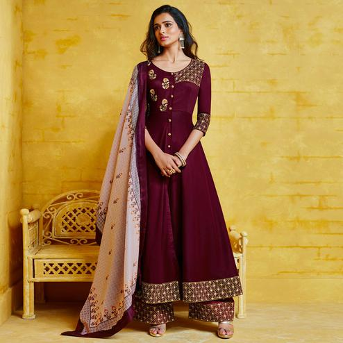Majesty Wine Colored Partywear Embroidered Muslin Palazzo Suit