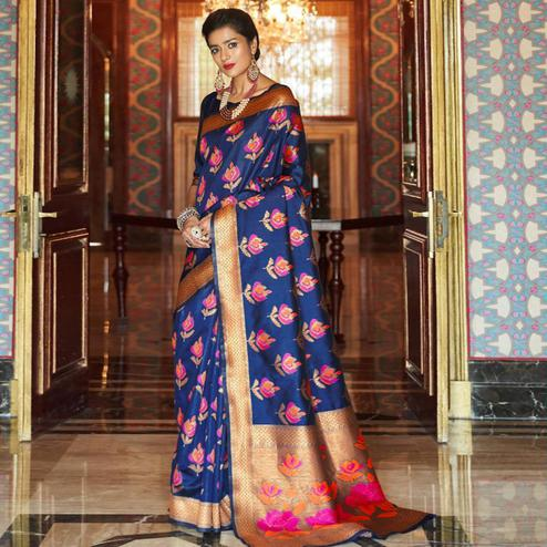 Glowing Navy Blue Colored Festive Wear Woven Silk Saree