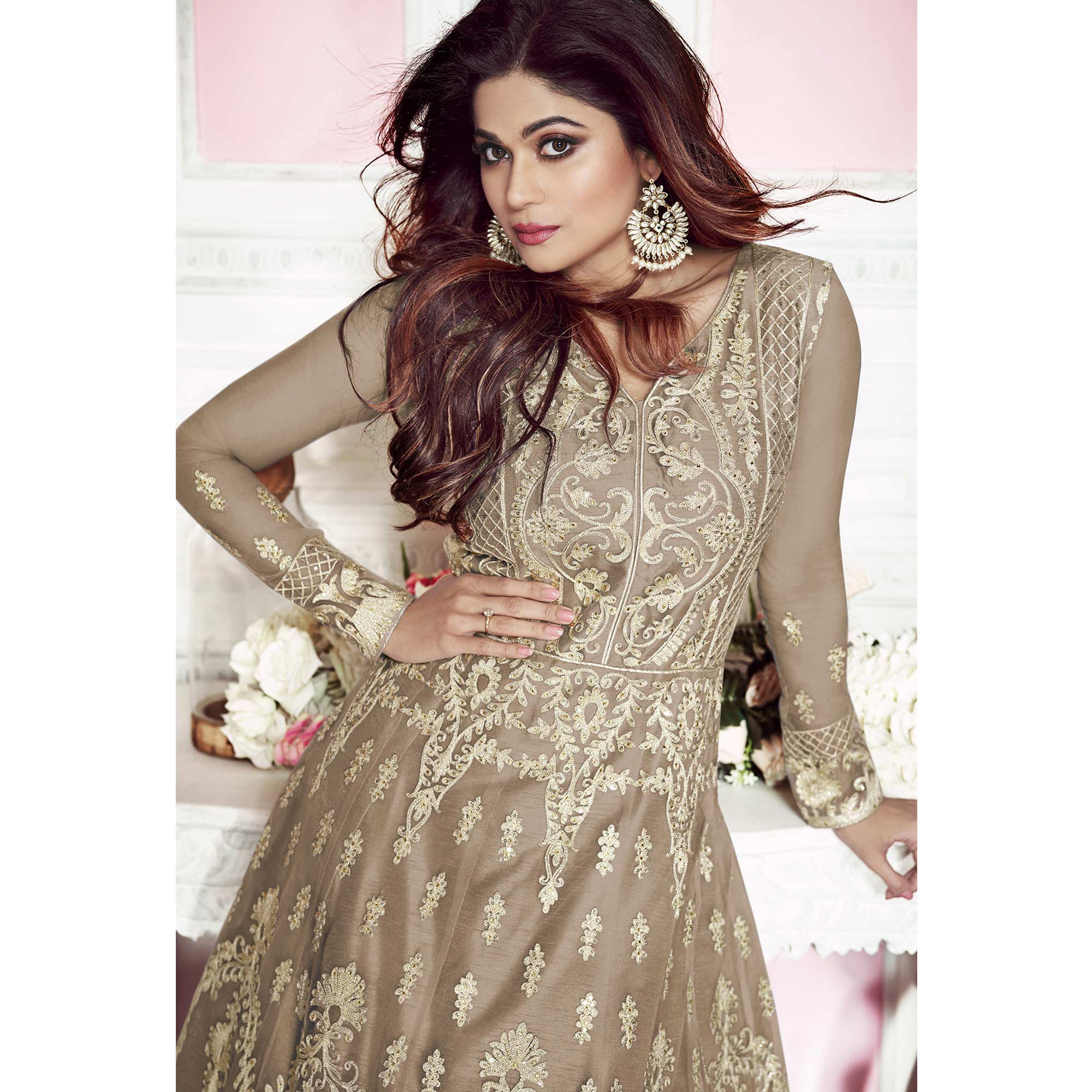 Hypnotic Brown Colored Partywear Embroidered Silk Anarkali Suit