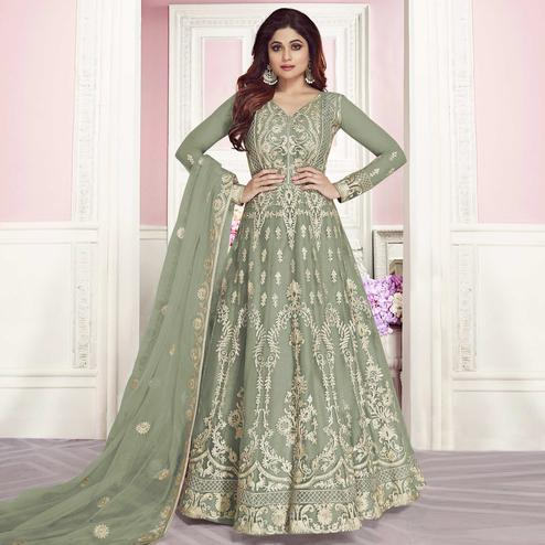 Flattering Green Colored Partywear Embroidered Silk Anarkali Suit