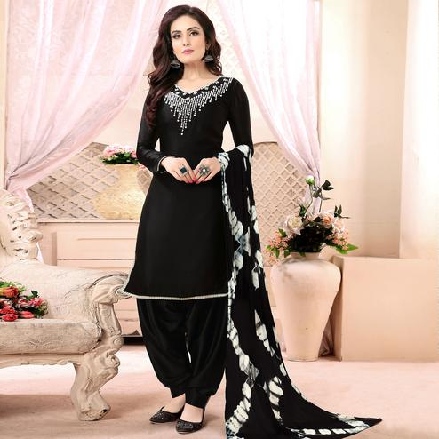 Imposing Black Colored Casual Printed Georgette Satin Patiala Suit