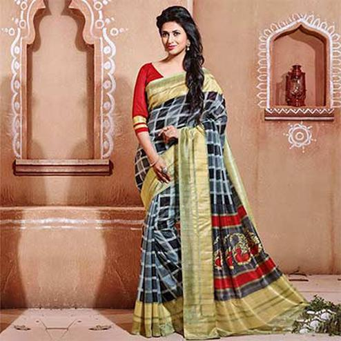 Gray - Black - Cream Bhagalpuri Silk Saree