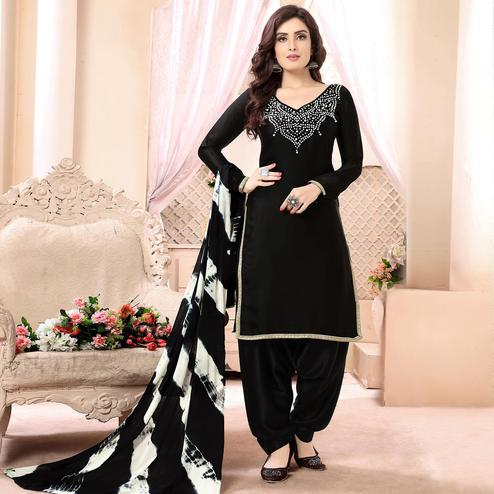 Lovely Black Colored Casual Printed Georgette Satin Patiala Suit