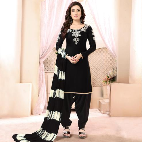 Majesty Black Colored Casual Printed Georgette Satin Patiala Suit
