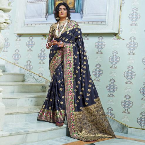Attractive Blue Colored Festive Wear Woven Silk Saree