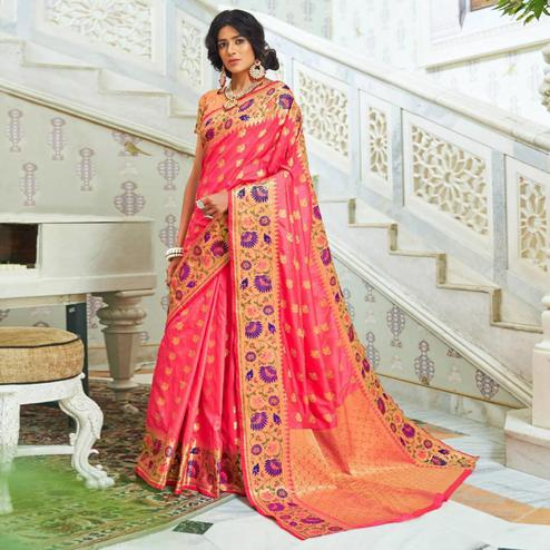 Graceful Peach Colored Festive Wear Woven Silk Saree