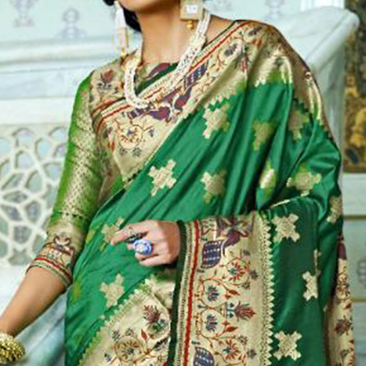 Blooming Green Colored Festive Wear Woven Silk Saree