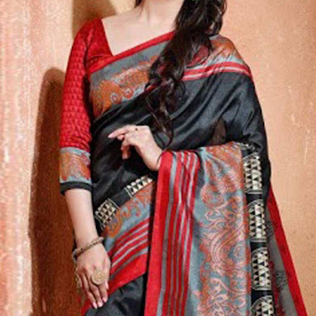 Black - Gray Bhagalpuri Silk Saree