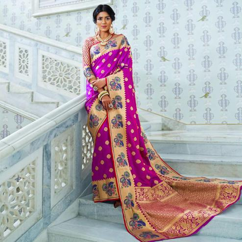 Captivating Rani Pink Colored Festive Wear Woven Silk Saree