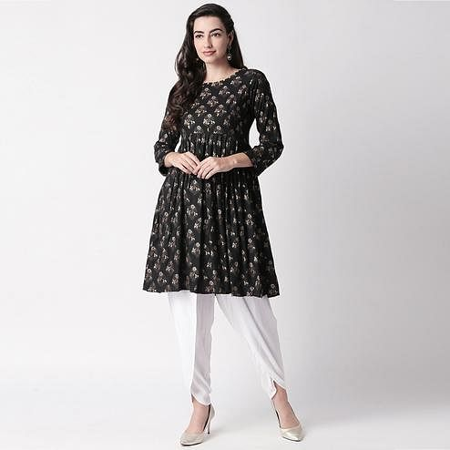 Pleasant Black-White Colored Casual Printed Cotton Kurti-Dhoti Set