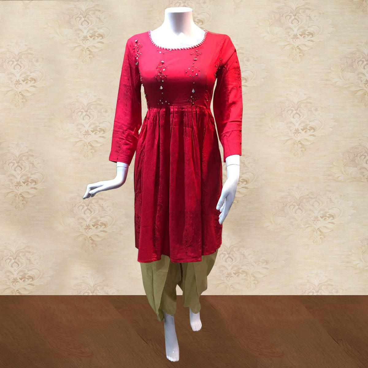Opulent Pink-Beige Colored Casual Printed Cotton Kurti-Dhoti Set