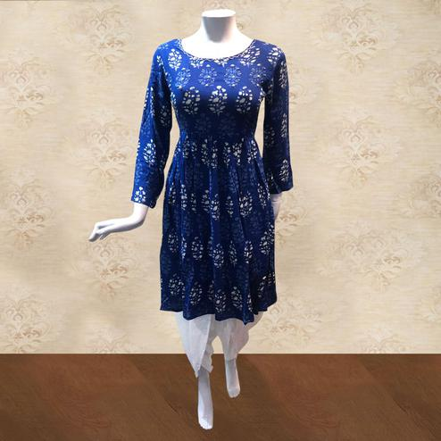 Energetic Blue-White Colored Casual Printed Cotton Kurti-Dhoti Set
